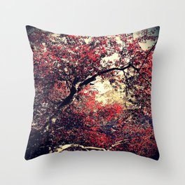 Red is the Tree that Grows Throw Pillow