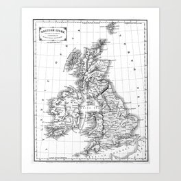 Vintage Map of The British Isles (1864) BW Art Print