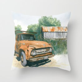 Farm Truck Throw Pillow