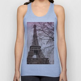 Eiffel Tower Paris in pink Unisex Tank Top