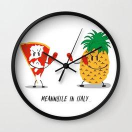 NO pineapple on pizza pls Wall Clock