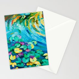 Original oil painting of beautiful water lily(Nymphaeaceae) on canvas.Modern Impressionism Stationery Cards