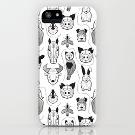 Friendly Geometric Farm Animals // white background black and white pigs queen bees lambs cows bulls dogs cats horses chickens and bunnies iPhone Case