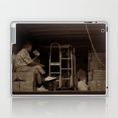 Man eating inside the van. Chinatown, New York City Laptop & iPad Skin