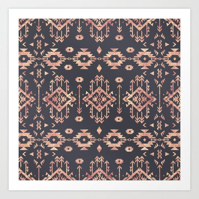 Trendy tribal geometric rose gold pattern Kunstdrucke