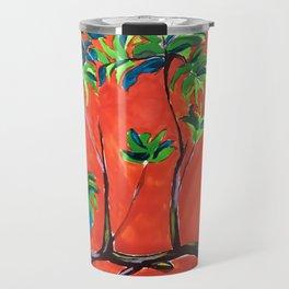 tree branch on orange sky painting Travel Mug
