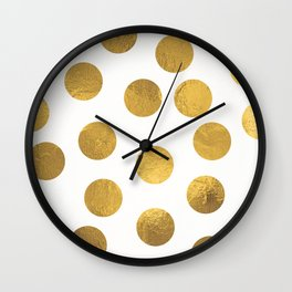 Gold Foil Polka Dots Wall Clock