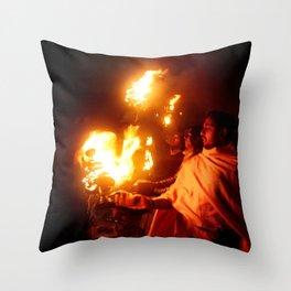 Fire on the Ganga River Throw Pillow