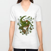 mortal instruments V-neck T-shirts featuring Mortal egg by Adrian Filmore