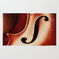 violin Area & Throw Rugs featuring Violin by Maite Pons