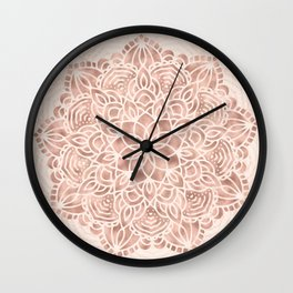 Mandala Seashell Rose Gold Coral Pink Wall Clock