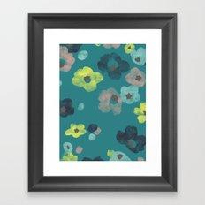 Watercolor Blooms - in Teal Framed Art Print