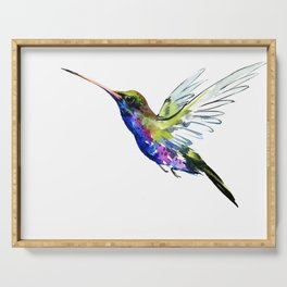 Flying Hummingbird, Blue green wall art minimalist bird Serving Tray