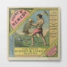Vintage 1900 Hunt's Snake Oil Skeleton Advertisement Poster, Cures Dropsy and All Diseases! Metal Print