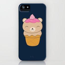 Kawaii Bear Ice Cream Cone iPhone Case