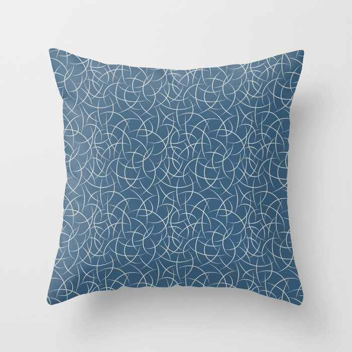 Linen White Abstract Crescent Shape Pattern on Blue - 2020 Color of the Year Chinese Porcelain Throw Pillow