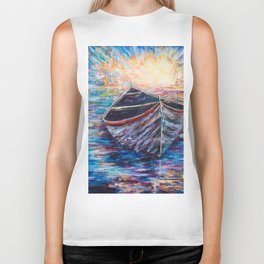 Wooden Boat at Sunrise - original oil painting with palette knife #society6 #decor #boat Biker Tank