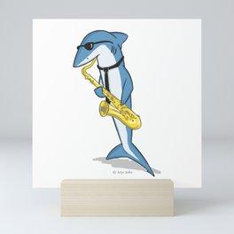Blue Shark Sax Mini Art Print