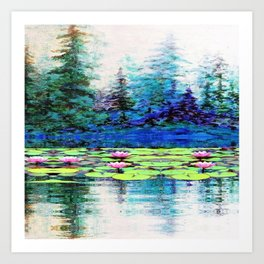 BLUE SPRUCE GREEN LILY PADS LAKE ART Art Print