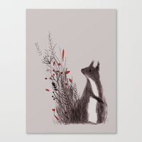 squirrel Canvas Prints featuring Squirrel by Linette No