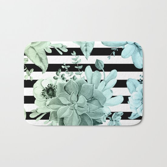 Simply Succulent Garden Striped in Turquoise Green Blue Gradient Bath Mat