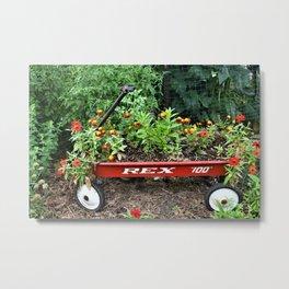 Little Red Flower Wagon Metal Print