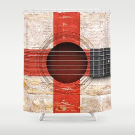 Old Vintage Acoustic Guitar with English Flag Shower Curtain