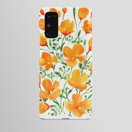Watercolor California poppies Android Case