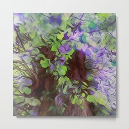 Old Tree Thick Branches Green & Blue Colors Metal Print