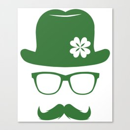 St Patricks Day Green Derby Moustache Hipster Design Canvas Print