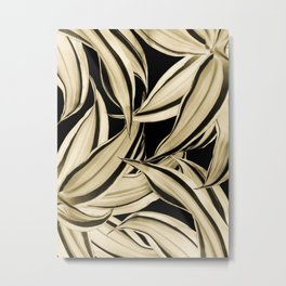 Dracaena Tropical Leaves Pattern Gold Black #2 #tropical #decor #art #society6 Metal Print