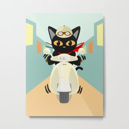 Scooter in the town Metal Print