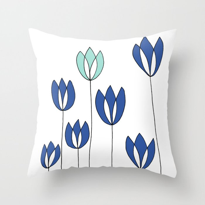 Drawing of Blue and Aqua Whimsical Tulips by Emma Freeman Designs Throw Pillow