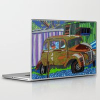 moriarty Laptop & iPad Skins featuring Old Car, Moriarty, New Mexico by Juniper Knolls