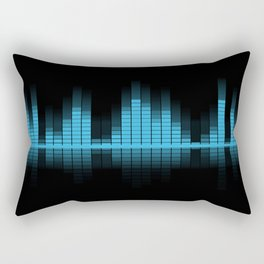 Cool Blue Graphic Equalizer Music on black Rectangular Pillow
