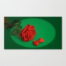 Red Rose with Hearts in Oval Frame Canvas Print
