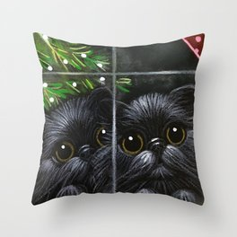 2 BLACK PERSIAN KITTENS - WAITING FOR SANTA Throw Pillow