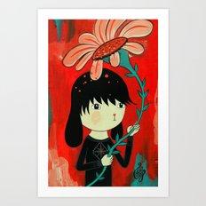 Dog Boy with flower. Art Print