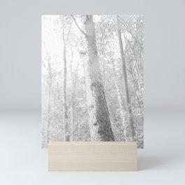 fog in the forest, black and white photo Mini Art Print