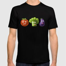 Funny Cartoon Vegetables Black MEDIUM Mens Fitted Tee