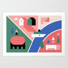 City Map Fragment I Art Print