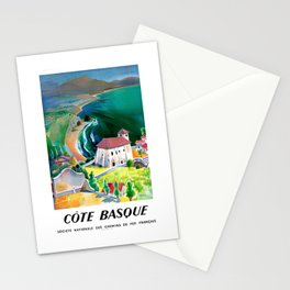1946 France Cote Basque Railway Travel Poster Stationery Cards