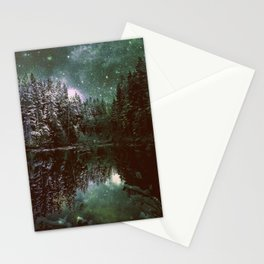 A Cold Winter's Night Forest Green Stationery Cards