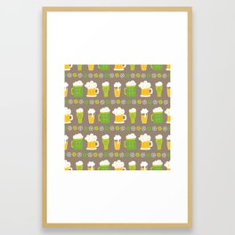 Happy St. Patrick's Day Mugs of Green Yellow Beer Framed Art Print