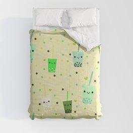 Happy Boba Bubble Tea Yellow Comforters