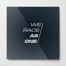 Race As One Textured Silver Blue Metal Print