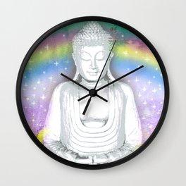 Buddha and Rainbow Wall Clock