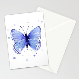 Dark Blue Butterfly Watercolor Stationery Cards