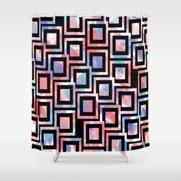 Black and White Squares Pattern 06 Shower Curtain