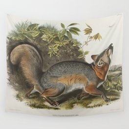 Vintage Illustration of a Grey Fox (1843) Wall Tapestry